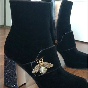 Gucci Shoes - Gucci Velvet Ankle Boot